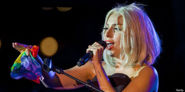 NEW YORK, NY - JUNE 28:  Musician Lady Gaga sings the Star-Spangled Banner at The Rally during NYC Pride 2013 on June 28, 201