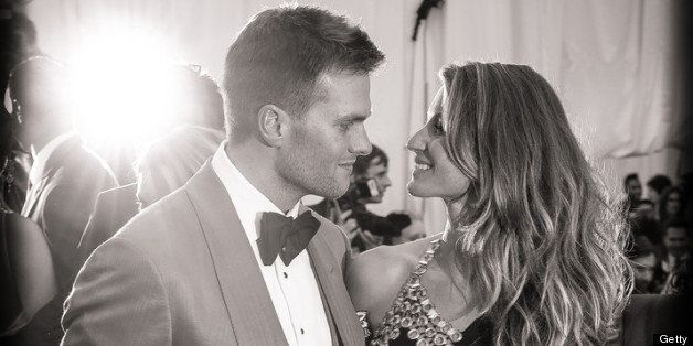 NEW YORK, NY - MAY 06:  [EDITOR'S NOTE: image has been digitally processed and converted to black and white] Tom Brady and Gi
