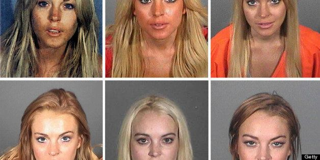LOS ANGELES - MAY 02: This composite image compares the six booking photos of actress Lindsay Lohan. ***TOP LEFT PHOTO*** SAN