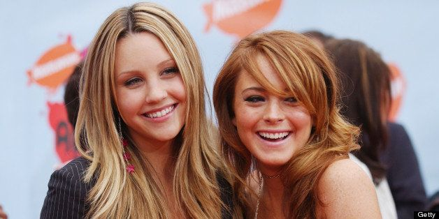 (L to R) Amanda Bynes and Lindsay Lohan during Nickelodeon's 17th Annual Kids' Choice Awards - Arrivals at Pauley Pavillion i