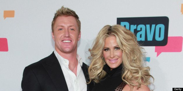 NEW YORK, NY - APRIL 03:  TV personalities Kroy Biermann and Kim Zolciak of 'Don't Be Tardy...' attend the 2013 Bravo Upfront