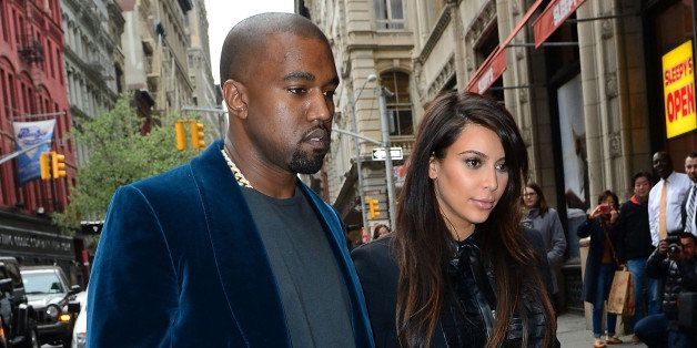 NEW YORK, NY - APRIL 23:  Kayne West and Kim Kardashian seen on the streets of Manhattan on April 23, 2013 in New York City.