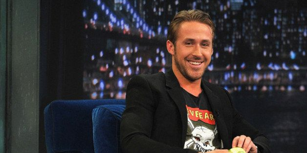 NEW YORK, NY - JULY 20:  Ryan Gosling along with his dog George visits 'Late Night With Jimmy Fallon' at Rockefeller Center o