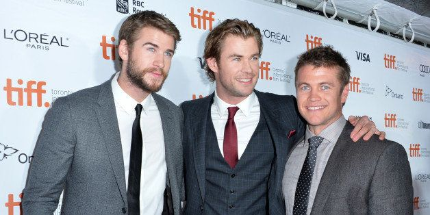 TORONTO, ON - SEPTEMBER 08:  Actors Liam,Chris and Luke Hemsworth attend the 'Rush' premiere during the 2013 Toronto Internat