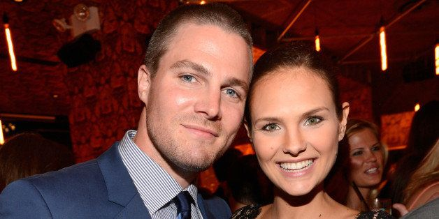 NEW YORK, NY - MAY 16:  (Exclusive Coverage) Stephen Amell and Cassandra Jean attend The CW Network's 2013 Upfront party at F