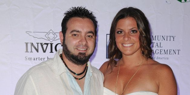 HOLLYWOOD, FL - FEBRUARY 24: Chris Kirkpatrick and Karly Skladany arrive at 2013 Jason Taylor Celebrity Golf Classic white party at Seminole Hard Rock Hotel & Casino ? Hard Rock Cafe Hollywood on February 24, 2013 in Hollywood, Florida. (Photo by Larry Marano/Getty Images)