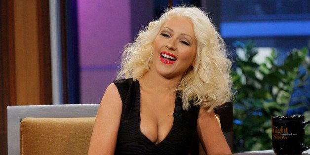 THE TONIGHT SHOW WITH JAY LENO -- Episode 4531 -- Pictured: Singer Christina Aguilera during an interview on September 18, 20