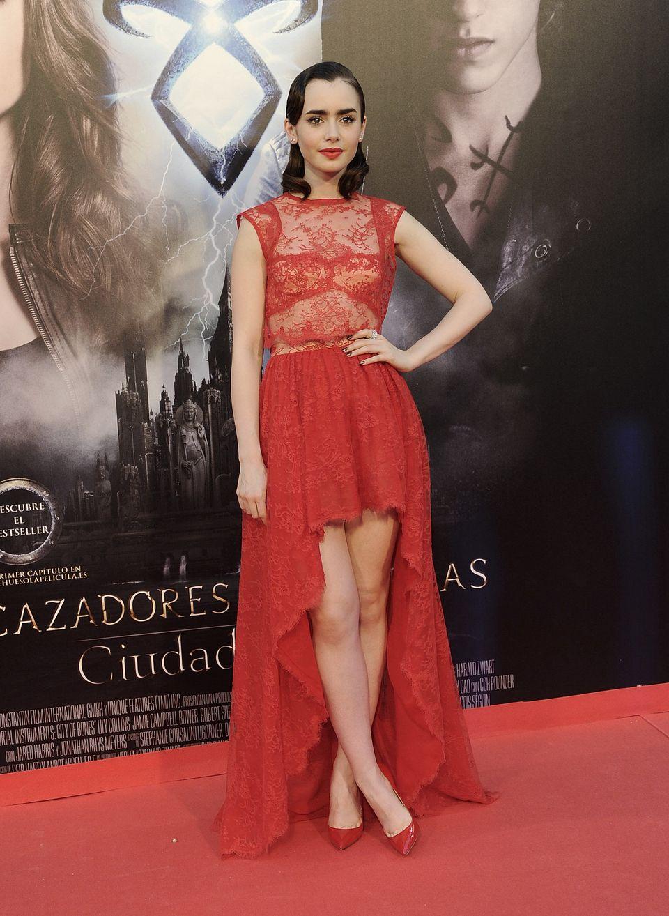 Lily Collins attends the premiere of 'The Mortal Instruments: City Of Bones' ('Cazadores de Sombras: Ciudad de Hueso') at Cal