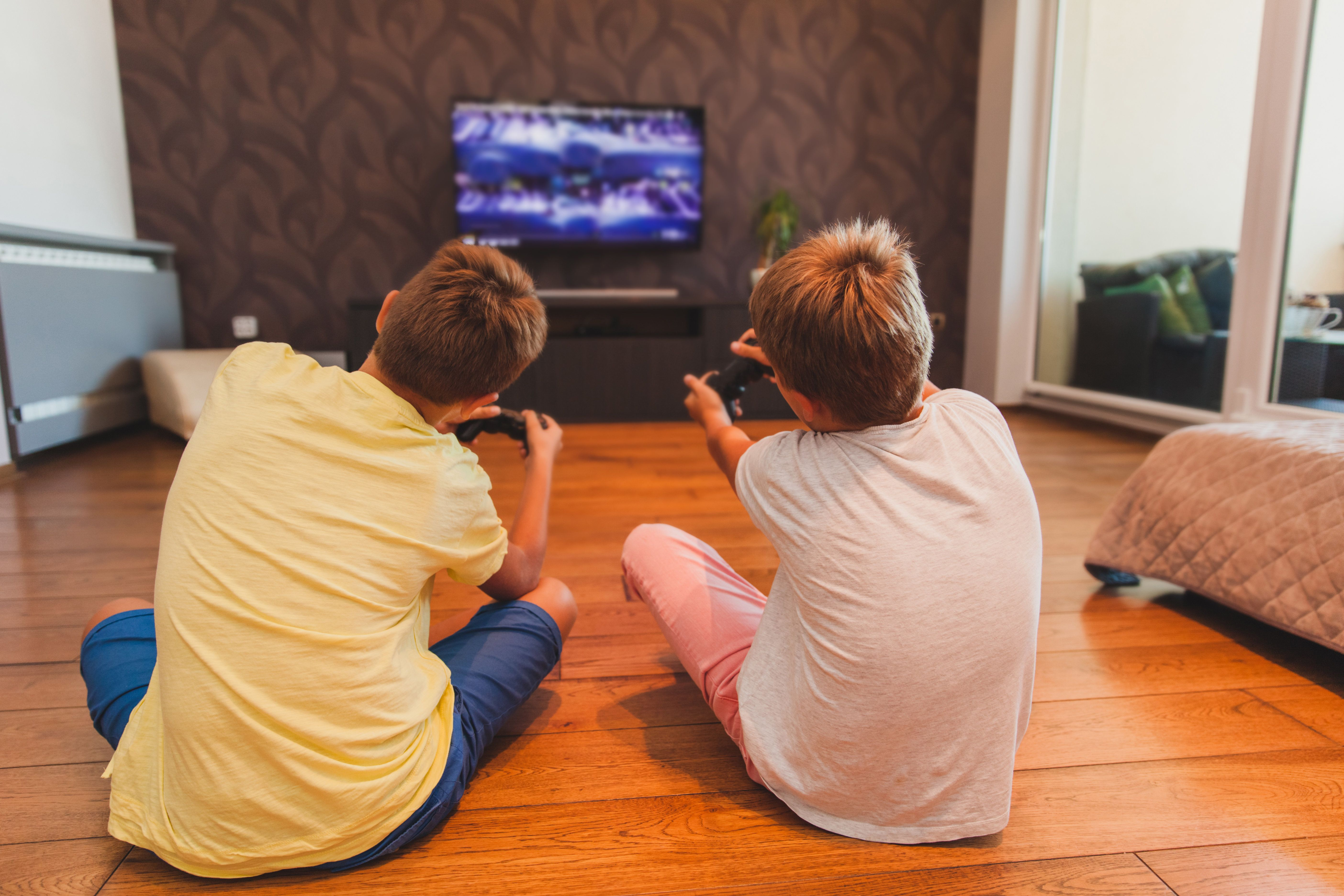 Two Boys Playing Games sitting on the floor in front of TV