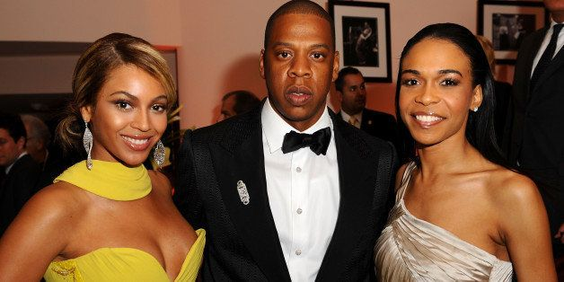 BEVERLY HILLS, CA - FEBRUARY 10:  Singer Beyonce, rapper Jay-Z and Michelle Williams during the Sony/BMG Grammy After Party a