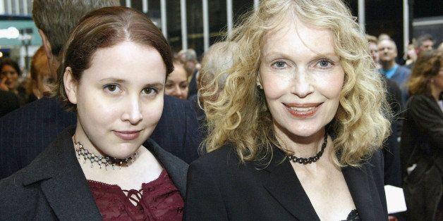 NEW YORK - MAY 1:  Mia Farrow (R) and daughter Dylan Farrow (L) arrive at the Opening Night of 'Gypsy' on Broadway at The Shu