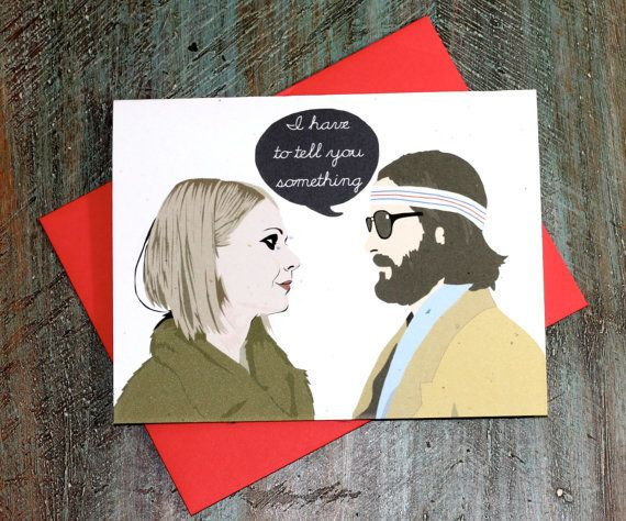 "Gwyneth Paltrow's dark eyes burn through this ""Royal Tenenbaums""–inspired valentine. Inside, the card reads ""I love you,"" wit"