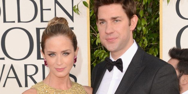 BEVERLY HILLS, CA - JANUARY 13:  Actors Emily Blunt and John Krasinski arrive at the 70th Annual Golden Globe Awards held at