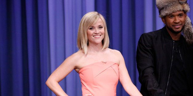 THE TONIGHT SHOW STARRING JIMMY FALLON -- Episode 0005 -- Pictured: (l-r) Reese Witherspoon and Usher play a game of Catch Ph