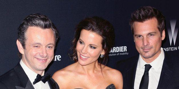BEVERLY HILLS, CA - JANUARY 12:  (L-R) Actor Michael Sheen, actress Kate Beckinsale and her husband director Len Wiseman atte