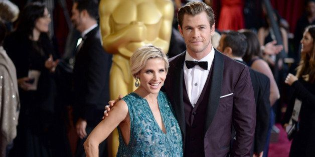 HOLLYWOOD, CA - MARCH 02:  Actor Christ Hemsworth (R) and Elsa Pataky attends the Oscars held at Hollywood & Highland Center