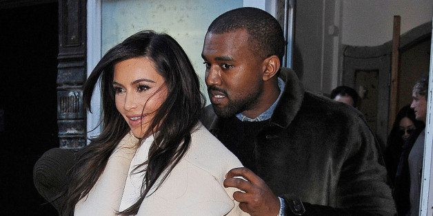 NEW YORK, NY - FEBRUARY 22:  Kim Kardashian and Kanye West are seen on February 22, 2014 in New York City.  (Photo by NCP/Sta