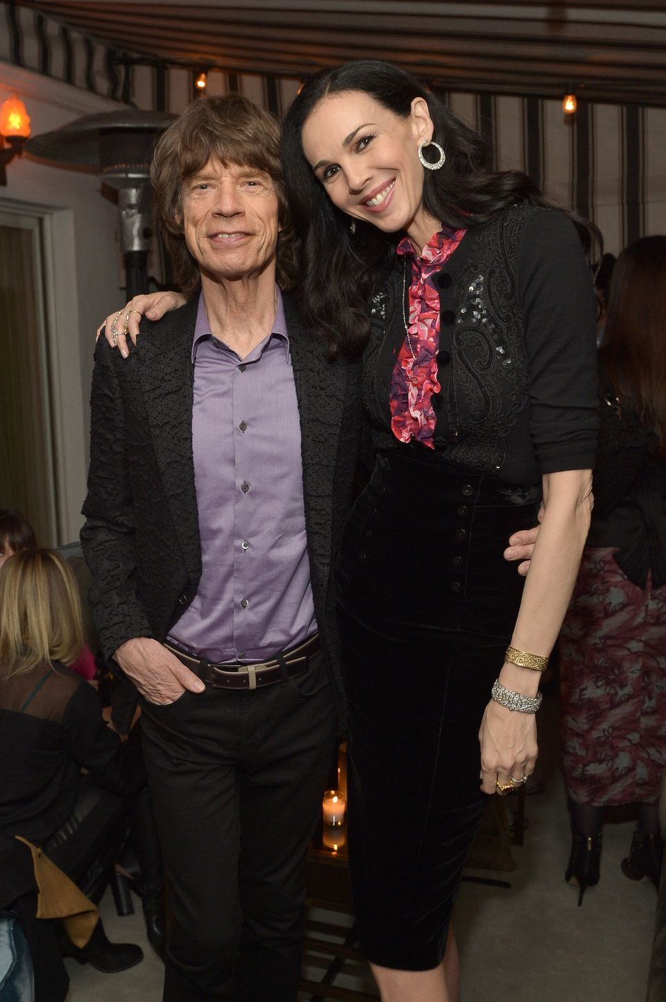 LOS ANGELES, CA - NOVEMBER 19:  Singer Mick Jagger and fashion designer L'Wren Scott attend the launch celebration of the Ban
