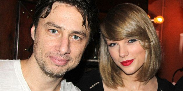 NEW YORK, NY - MARCH 29:  (EXCLUSIVE COVERAGE) Zach Braff and Taylor Swift pose backstage at the new musical 'Bullets Over Br