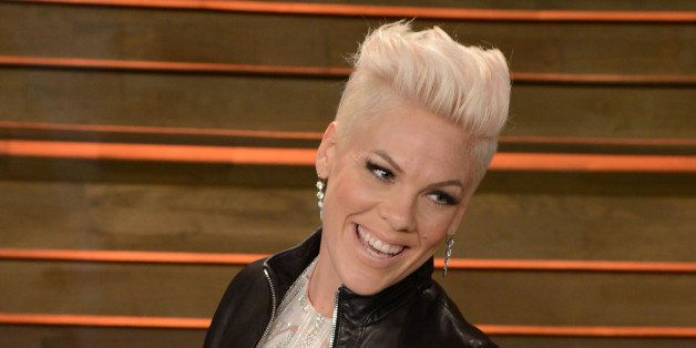 WEST HOLLYWOOD, CA - MARCH 02:  Singer Pink (P!nk) arrives at the 2014 Vanity Fair Oscar Party Hosted By Graydon Carter on Ma