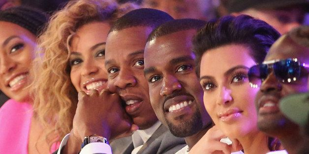 LOS ANGELES, CA - JULY 01:  (L-R) Singer Beyonce, rappers Jay-Z and Kanye West and television personality Kim Kardashian atte