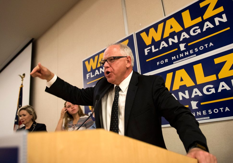 U.S. Rep. Tim Walz (D-Minn.), now the Democratic nominee for Minnesota governor, celebrates his primary win on Aug. 14 i