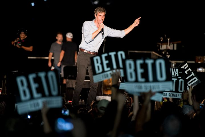 Beto O'Rourke speaks to the crowd at his Turn out For Texas Rally, featuring a concert by Wille Nelson, in Austin, Texas on S