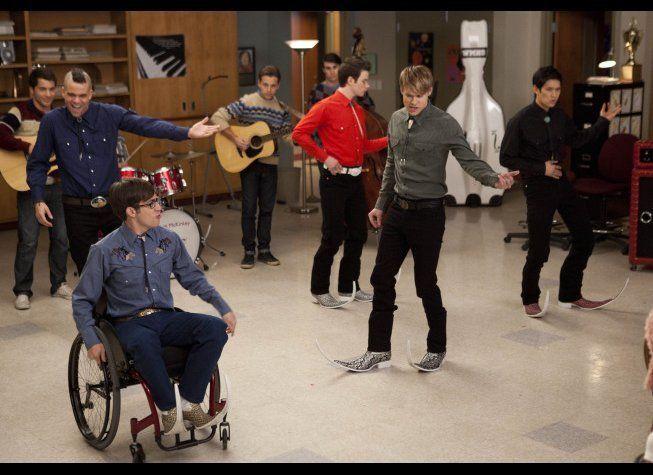 "The glee club boys perform a Spanish song in ""The Spanish Teacher"" (Tues., Feb. 7, 8 p.m. EST on Fox)"