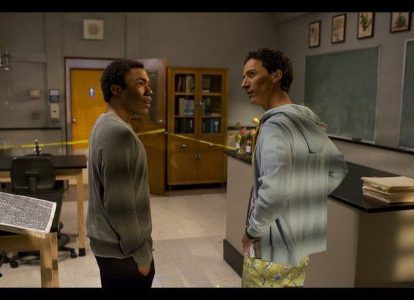 Donald Glover as Troy, Danny Pudi as Abed.
