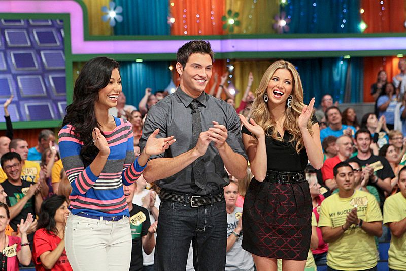 Model Manuela Arbeleaz, male model search winner Rob Wilson, and model Amber Lancaster during the first episode of Wilson's w