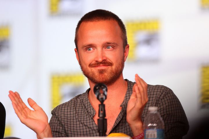 Description Aaron Paul speaking at the 2012 San Diego Comic-Con International in San Diego, California. Please attribute to G