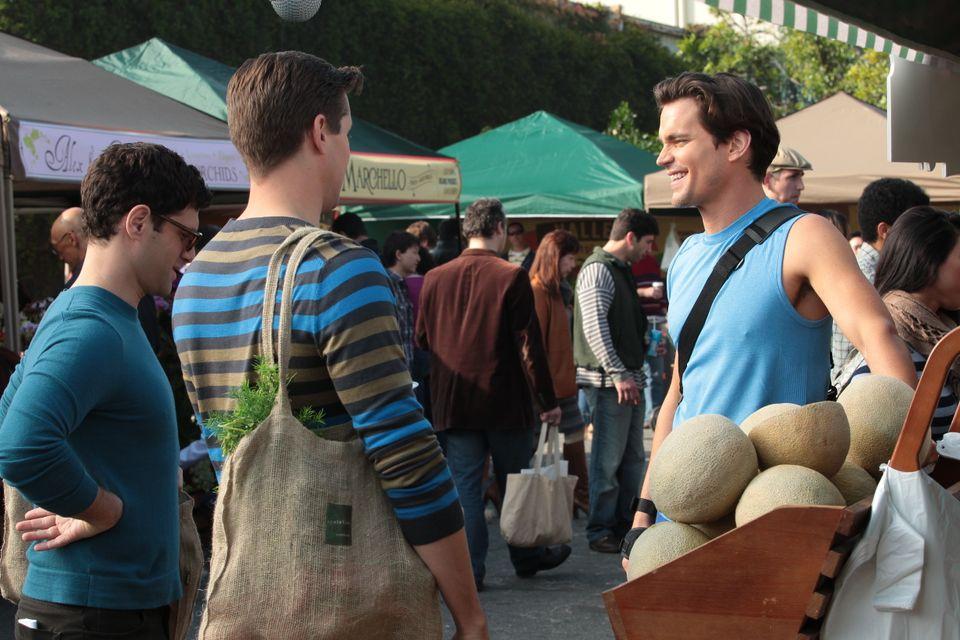 From L-R: David (Justin Bartha), Bryan (Andrew Rannells) and Monty (Matt Bomer) meet at the farmer's market.