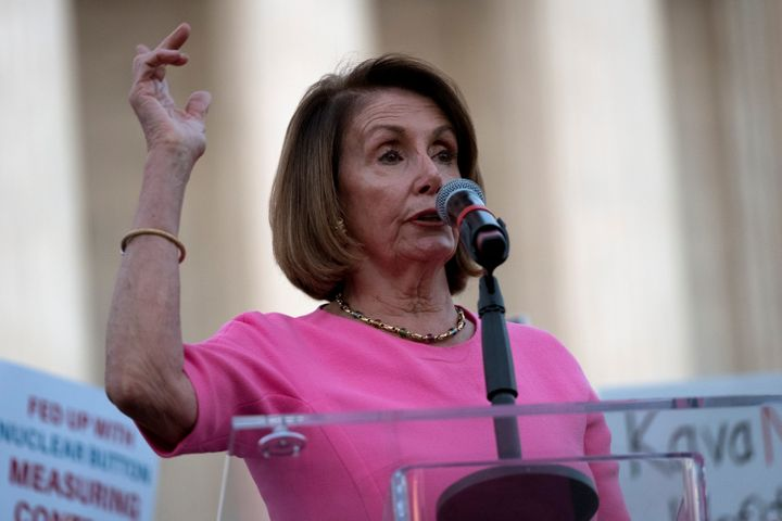 House Minority Leader Nancy Pelosi speaks in Washington on Wednesday at a protest outside the U.S. Supreme Court.