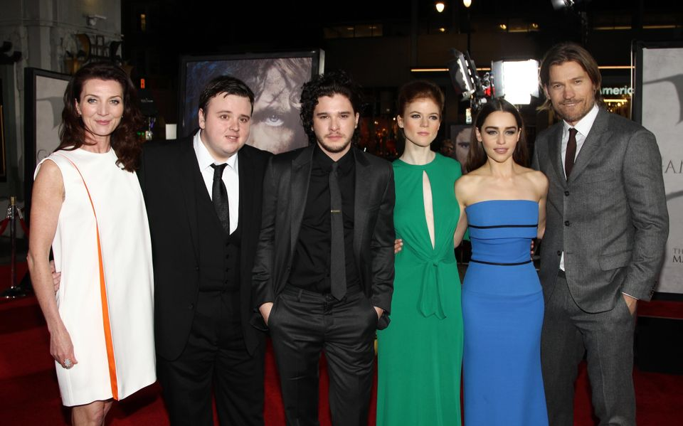 Michelle Fairley (Catelyn Stark), John Bradley (Samwell Tarly), Kit Harington (Jon Snow), Rose Leslie (Ygritte), Emilia Clark