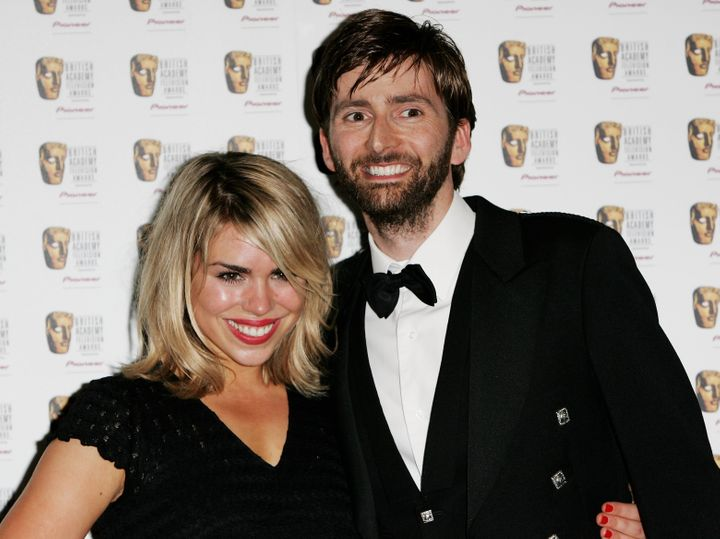 LONDON - MAY 07:  Dr. Who actors Billie Piper and David Tennant pose in the Awards Room at the Pioneer British Academy Televi