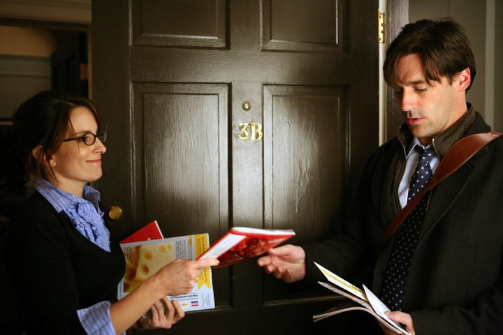 30 ROCK -- 'Generalissimo' Episode 310 -- Pictured: (l-r) Tina Fey as Liz Lemon, Jon Hamm as Drew -- Photo by: Jessica Miglio