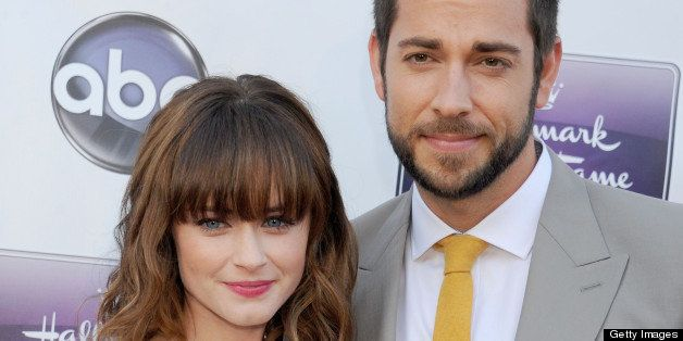 CENTURY CITY, CA - APRIL 17:  Actors Alexis Bledel and Zachary Levi arrive at Disney ABC Television and the Hallmark Hall Of