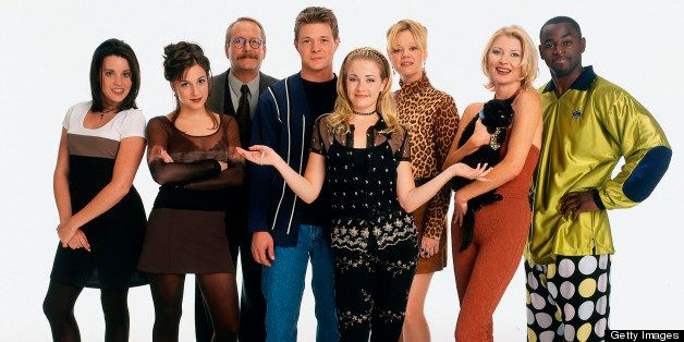 UNITED STATES - DECEMBER 09: SABRINA, THE TEENAGE WITCH - 'GALLERY' - 8/10/97, The Cast of Sabrina, The Teenage Witch, (Left:Right) Jenna Leigh Green (as Libby Chessler), Lindsay Sloane (as Valerie Birkhead), Martin Mull (as Principal Willard Kraft), Nate Richert (as Harvey Kinkle), Melissa Joan Hart (as Sabrina Spellman), Caroline Rhea (as Hilda Spellman), Beth Broderick (as Zelda Spellman), Alimi Ballard (as Quizmaster Albert). Sabrina Spellman, a perfectly normal 16-year-old, is informed by her aunts, Hilda and Zelda, that she (and they, and her whole family on her father's side) are witches. She lives with them in Massachusetts while preparing to receive her witch's license. Along the way, she gets into many scrapes while figuring out how certain spells work., (Photo by Bob D'Amico/ABC via Getty Images)