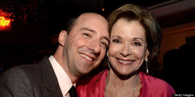 LOS ANGELES, CA - APRIL 29:  Actors Tony Hale (L) and Jessica Walter pose at the after party for the premiere of Netflix's 'A