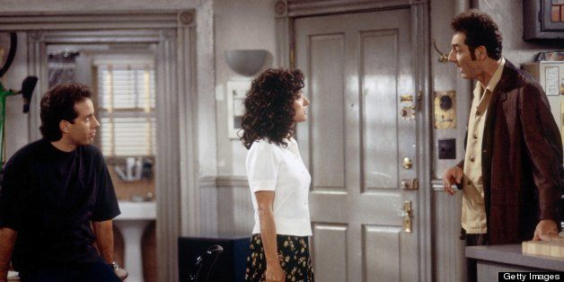 SEINFELD -- 'The Foundation' Episode 1 -- Pictured: (l-r) Jerry Seinfeld as Jerry Seinfeld, Julia Louis-Dreyfus as Elaine Ben
