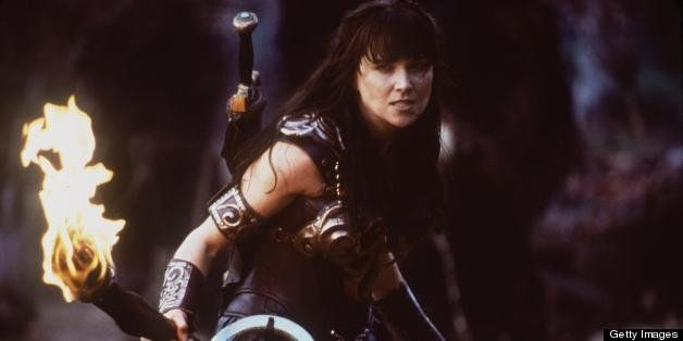 384678 04: Actress Lucy Lawless stars as Xena in Renaissance Pictures and Studio USA''s syndicated television series 'Xena Wa