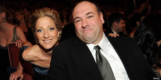 (EXCLUSIVE, Premium Rates Apply) NEW YORK - JUNE 07:  *EXCLUSIVE* Edie Falco and James Gandolfini in the audience at the 63rd