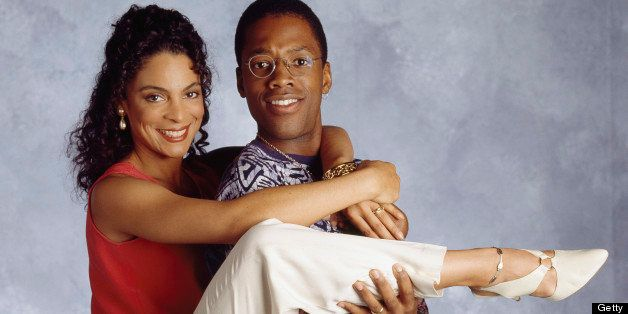 A DIFFERENT WORLD -- SEASON 6 -- Pictured: (l-r) Jasmine Guy as Whitley Marion Gilbert Wayne, Kadeem Hardison as Dwayne Cleop