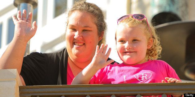 LOS ANGELES, CA - OCTOBER 15:  June Shannon and Alana 'Honey Boo Boo' Thompson are sighted at The Grove on October 15, 2012 i