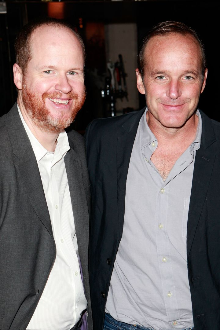 TORONTO, ON - SEPTEMBER 08: (L-R) Director Joss Whedon and Actor Clark Gregg attend The Hollywood Reporter TIFF Video Lounge