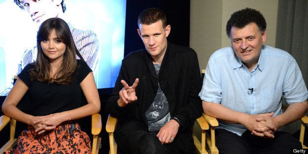 SAN DIEGO, CA - JULY 20:  (L-R) Actress Jenna Coleman, actor Matt Smith, and writer Steven Moffat attend day 3 of the WIRED C