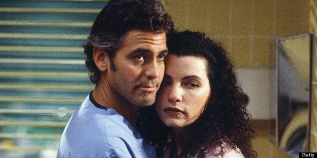 ER -- 'Of Past Regret and Future Fear' Episode 20 -- Air Date 04/30/1998 -- Pictured: (l-r) George Clooney as Doctor Doug Ros