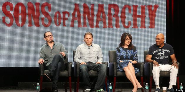 BEVERLY HILLS, CA - AUGUST 02: (L-R) Creator/Executive Producer Kurt Sutter, actors Charlie Hunnam and Katey Sagal, and Execu