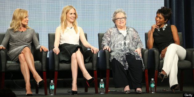 BEVERLY HILLS, CA - AUGUST 02:  (L-R) Actresses Jessica Lange, Sarah Paulson, Kathy Bates, and Angela Bassett speak onstage d