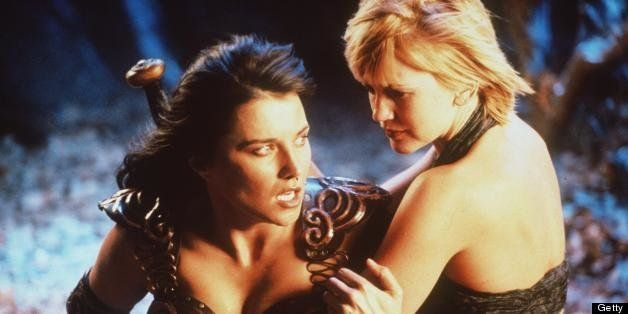 384678 05: Actress Lucy Lawless stars as Xena and Renee O''Connor stars as Gabrielle in Renaissance Pictures and Studio USA''